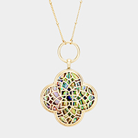 Abalone Filigree Clover Pendant Long Necklace