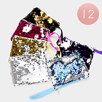 12PCS - Reversible Sequin Mini Pouch Bagsv