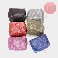 12PCS - Glittered Tiny Sequin Mini Pouch Bags With Key Chain