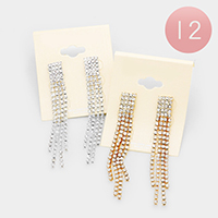 12Pairs - Crystal Rhinestone Pave Fringe Earrings