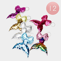 12PCS - Bow Reversible Sequin Mermaid Tail Key Chains