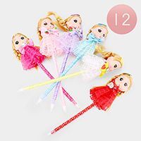 12PCS - Braid Hair Cute Girl Character Ball Pens