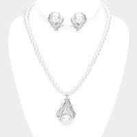 Pearl Detail Stone Trim Pendant Necklace & Clip Earring Set