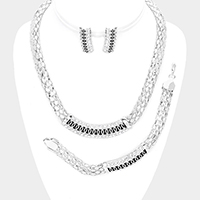 3PCS Crystal Rhinestone Curved Pendant Collar Necklace Set