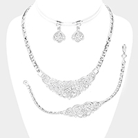 3PCS Floral Rhinestone Embellished Chain Necklace Set