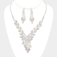 Crystal Rhinestone Pave Leaf Cluster Vine Necklace