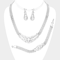 3PCS Crystal Teardrop Accented Pendant Collar Necklace Set
