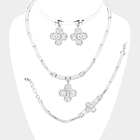 3PCS Crystal Pave Clover Pendant Collar Necklace Set