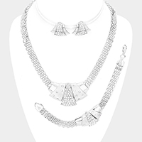 3PCS Crystal Rhinestone Pendant Detail Collar Necklace Set