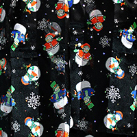 Silk Feel Striped Stone detail Hologram Snowman Print Scarf
