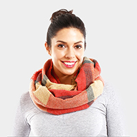 Multi Color Plaid Infinity Scarf