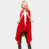 Solid Ruffled Vest Shawl Vest