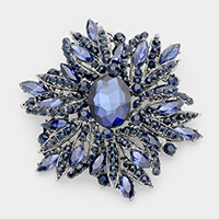 Glass Crystal Flower Brooch / Pendant