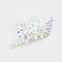 Bubble Crystal Pave Flower Leaf Hair Comb