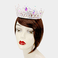 Oval Crystal Accented Pageant Crown Tiara