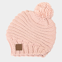 Stripe Knit Pom Pom Beanie Hat
