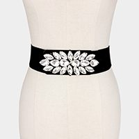 Floral Teardrop Crystal Accented Elastic Stretch Belt