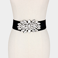 Wide Floral Crystal Accented Elastic Stretch Belt