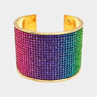 Rainbow Crystal Pave Color Block Cuff Bracelet