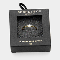 Secret Box _ 14K Gold Dipped CZ Triangle Ring