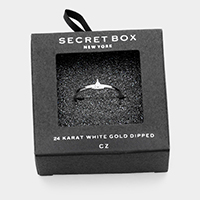 Secret Box _ 24k White Gold Dipped CZ Triangle Ring