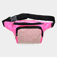 Crystal Embellished Detail Hologram Fanny Pack