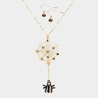 Crystal Cobweb Spider Halloween Pendant Necklace