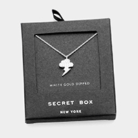 Secret Box _ White Gold Dipped CZ Thunderbolt Pendant Necklace