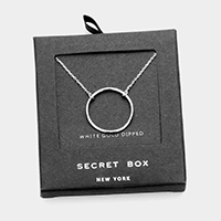 Secret Box _ White Gold Dipped Metal Hoop Pendant Necklace
