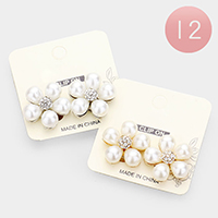 12Pairs - Teardrop Pearl Accented Flower Clip on Earrings