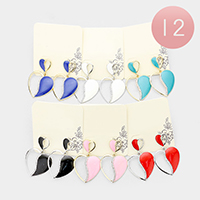12Pairs - Crystal Embellished Heart Dangle Earrings