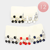 12Pairs - Crystal Embellished Pearl Centered Flower Earrings
