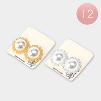 12Pairs - Round Pearl Accented Flower Clip on Earrings