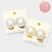 12PCS - Crystal Trim Pearl Accented Clip on Earrings