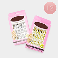 12 Set of 12 - Metallic Simple Artificial Nail Stickers
