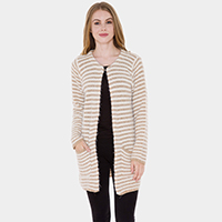 Pockets in front Striped Soft Cardigan