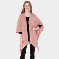 Solid Chenille Tied Side Detail Poncho