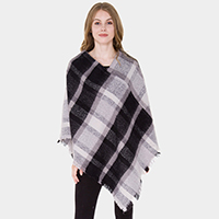 Plaid Check Short Fringe Poncho