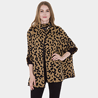 Leopard Patterned Metallic Hook Detail Poncho