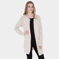 Pockets in Front Furry Soft Knit Hook Cardigan