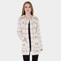 Pockets in Front Diamond Patterned Knit Hook Cardigan