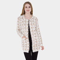 Pockets in Front Houndstooth Patterned Knit Hook Cardigan