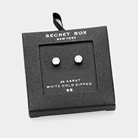 Secret Box _ 24K White Gold Dipped CZ Round Stud Earrings