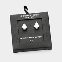 Secret Box _ 14K Gold Dipped CZ Teardrop Stud Earrings
