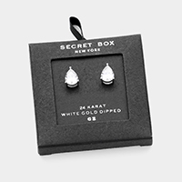 Secret Box _ 24K White Gold Dipped CZ Teardrop Stud Earrings