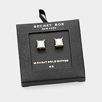 Secret Box _ 14K Gold Dipped CZ Square Stud Earrings
