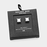 Secret Box _ 24K White Gold Dipped CZ Square Stud Earrings