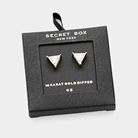 Secret Box _ 14K Gold Dipped CZ Triangle Stud Earrings