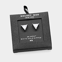 Secret Box _ 24K White Gold Dipped CZ Triangle Stud Earrings