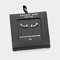 Secret Box _ 14K Gold Dipped CZ Pave Stud Earrings